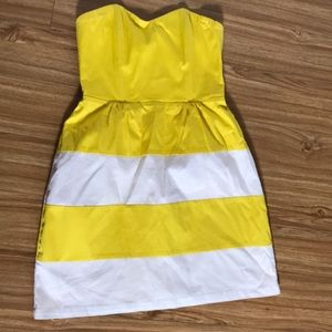 Nordstrom Yellow and White striped dress sz s